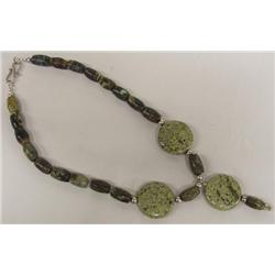 Natural Green Stone and Sterling Necklace