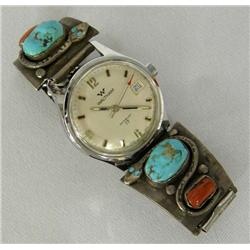 Zuni Silver Turquoise Watchband by Calavaza