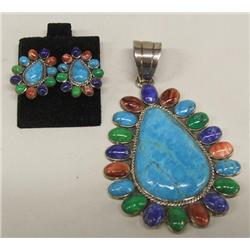 Zuni Multi Stone Pendant and Earrings marked NV