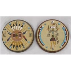 Pair Navajo Sand Painted Clocks