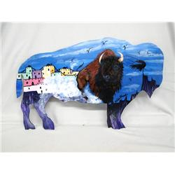 Hand Painted Wrought Iron Buffalo by Kills Thunder