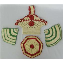 Four Antique Crocheted Potholders
