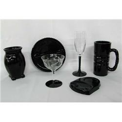6 Miscellaneous Black Amethyst Glass