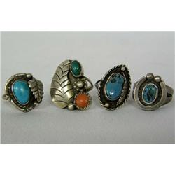 4 Navajo Silver Turquoise Rings