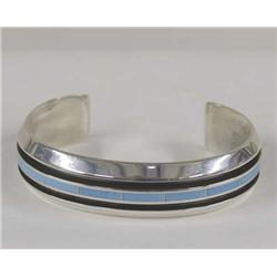 Zuni Inlay Silver Turquoise Bracelet By Loretto