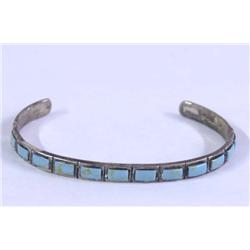 Sterling Silver Inset Turquoise Bracelet