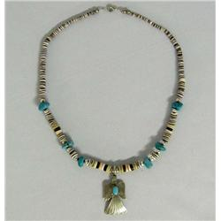 Navajo Water Bird Silver Turquoise Necklace