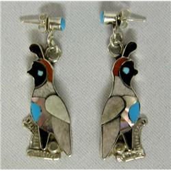 Zuni Channel Inlay Quail Pierce Earrings