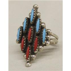 Zuni Silver Turquoise Coral Needlepoint Ring