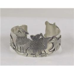 Navajo Sterling Wolf Design Bracelet By C Lee