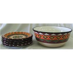 Southwestern China Salad Bowl and Plates
