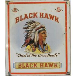 Antique Black Hawk Tin Sign