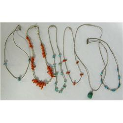 Six Silver Turquoise Coral Necklaces and Chokers