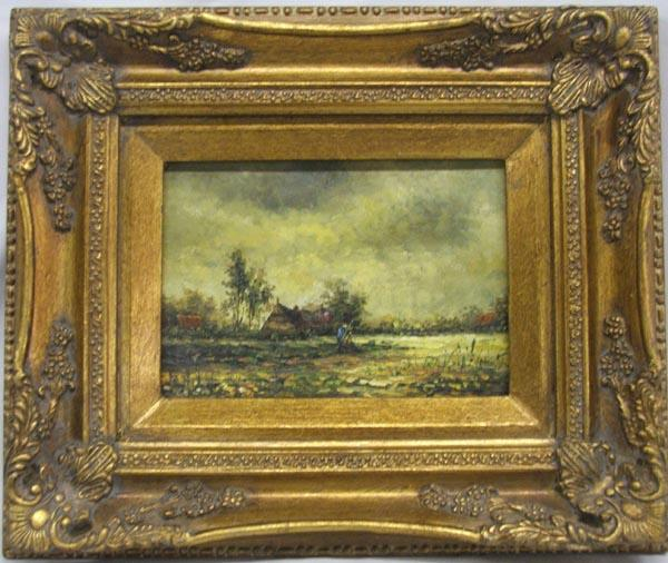 european style oil painted in gold gilded frame loading zoom