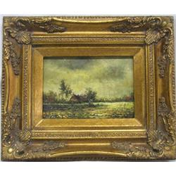 European Style Oil Painted in Gold Gilded Frame