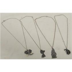 Four Pewter Necklaces