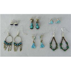 Six Pair Turquoise Jet Heishi Native American Earrings