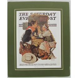 "Matted Print The Saturday Evening Post Cover ""Gary Cooper"" by Rockwell"