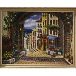 """CITY VIEW"" ON CANVAS BY SPONE GILDED FRAME"