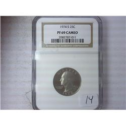 1974-S Washington Quarter NGC PF69 Cameo