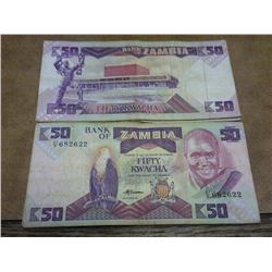 20 Zambia 50 Kwacha Currency Notes