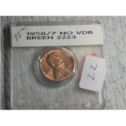 1958/7 LINCOLN CENT