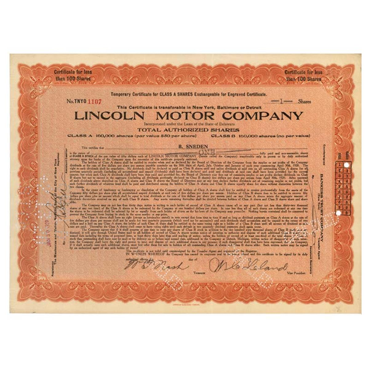 Lincoln Motor Company Signed By W C Leland As Vice