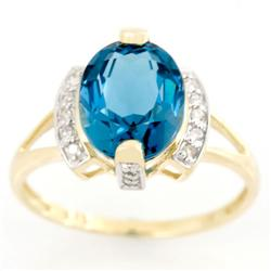 2.86Ct Huge London Blue Topaz & 16 Diamond 9K Gold Ring (JEW-9137X)