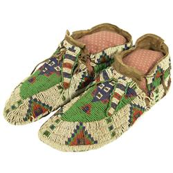 Sioux Full Beaded Ceremonial Moccasins