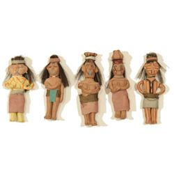 Five Mojave/Yuma Clay Dolls