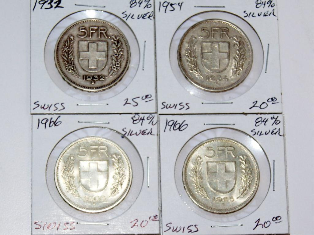 Image 1 1932 1954 And 2 1966 Swiss 5 Franc Coins