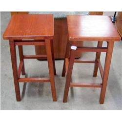 Set of 2 Wood Stools