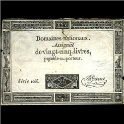 1793 France RARE 25 Livres Assignat Currency Hi Grade (CUR-05882)