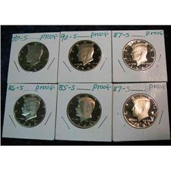 810. 1985S, 86S, (2)87S, & (2)90S Proof Kennedy Half Dollars.