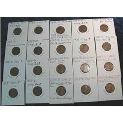 835. (20) 1956-1957 Lincoln Cent Varieties.