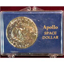 1348. Apollo Space Dollar. 1972P Eisenhower Dollar Gold Plated.