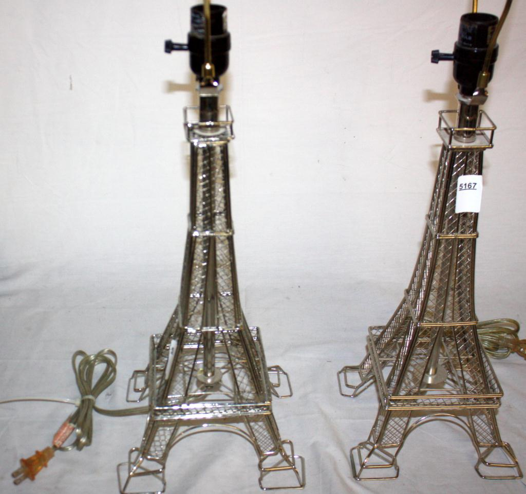 "2 Eiffel Tower Lamps 27"" Tall"