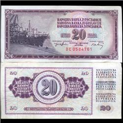 1974 Yugoslavia 20 Dinara Scarce Circulated Note (CUR-05691)