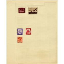 1940s Burma Hand Made Stamp Collection Album Page 5 Pieces (STM-0290)