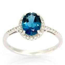 2.05Ct London Blue Topaz 30 Diamond White 9K Gold Ring (JEW-9088X)