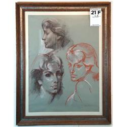 Study of female heads; Artist: R.V. Goetz
