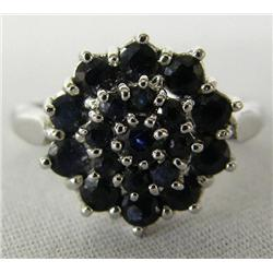 Silver Black Sapphire Ring