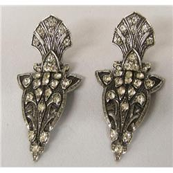 Estate Rhinestone Clip On Earrings