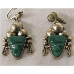 Taxco Silver Malachite Screw Back Earrings