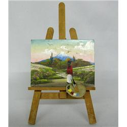 Original Miniature Painting on Easel signed