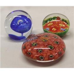 3 Glass Paperweights
