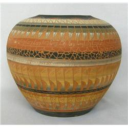 Navajo 1980's Incised Polychrome Pot by Watchman