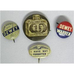 4 Antique Political Buttons