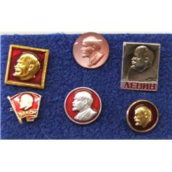 6 Lapel Buttons of LENIN bought in Moscow 1980s