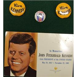 JFK ''In Memoriam'' Postcard, and 3 Buttons